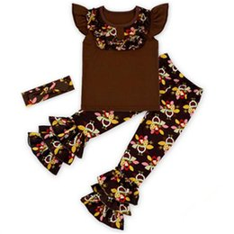 Wholesale Wholesale Clothing Turkey - Thanksgiving Day Girls Clothing Sets, Cartoon Turkey Print Baby Clothes for Girls, 9 colors Novelty design Toddler Girl Clothing