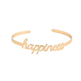 Wholesale Happiness Bangle - 10PC-SZ057 2016 New Arrival Letter Happiness Cuff Bangles for Women Party Gift