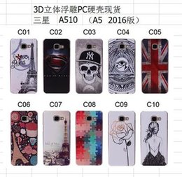 Wholesale Uk Flag Paris - For Samsung Galaxy A310 A510 2016 A3 A5 Hard Case Flower Plastic PC Rose Superman Relief Sexy Angel Girl Paris Skull EYE UK Flag skin Luxury