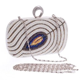 Wholesale Beaded Evening Purse Gold - lady glittering party ring lock chain clutch pearl bags purses 16cm leaves beaded evening bag hot sale