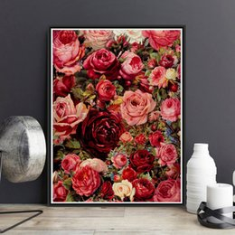 Wholesale Rose Oil Paint - Framed On Canvas Diy Digital Oil Painting By Numbers Wall Red Rose A Painting Acrylic Painting Hand Painted Home Decor For Living Room