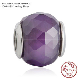 Wholesale Round Faceted Glass Stones - Authentic 925 Sterling Silver Royal Purple Crystal Facets Charm Beads Geometric Faceted Stone CZ Bead Diy Brand Fine Jewelry