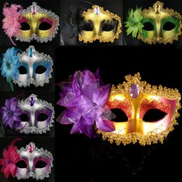Wholesale Christmas Mask Designs - 13 Design Masquerade Masks Venetian Face Mask Fashion Lily Flower Crystal Rhinestones Party Decoration Halloween Christmas Gift WX9-76