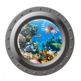 Wholesale Window Wall Decal Vinyl View - Shark Ocean View Wall Sticker 3D Porthole Window Bathroom Kids Room Decal Art Wall Sticker Home Decor adesivi parete E5M1 order<$18no track