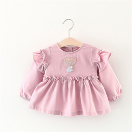 Wholesale Little Girls Lace Tops Wholesale - Lovely Girls Heart Patch Dresses Tops 2017 Fall Kids Boutique Clothing Korean 1-5T Little Girls Cotton Long Sleeves Solid Dresses