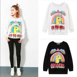 Wholesale Unicorn Blouse - Women Rainbow Unicorn Hoodie Sweatshirt Pullover Top Sweater Horse Printed Loose Hoodie Blouse Pullover Jumper Sweaters OOA3375