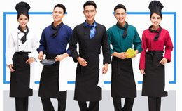 Wholesale Apron Chef Hats - (10sets Hat-coat-tie-apron) Chef service work long sleeved autumn and winter restaurant and hotel service hotel catering kitchen uniforms