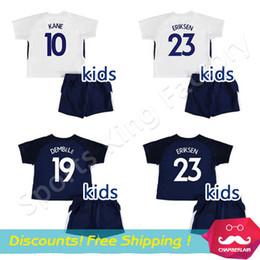 Wholesale Harry Shirts - Kids Kane Jersey 2018 Boy Lamela Dele Eriksen football Sets 17 18 white children Harry Kane football shirts set