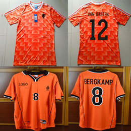 Wholesale Soccer 12 - #12 Van Basten Retro Soccer Jersey 88 Netherlands Jersey 1988 #10 Gullit 98 Holland #8 Bergkamp #10 Seedorf 1998 Voetbal Football Shirts