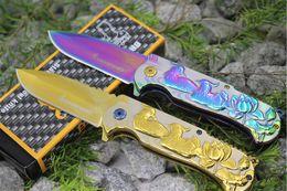Wholesale Duck Knives - New Browning Mandarin Ducks Gold Tactical Folding Knife 440C 55HRC Titanium Gilded Camping Hunting Survival Pocket Knives Utility EDC Tools
