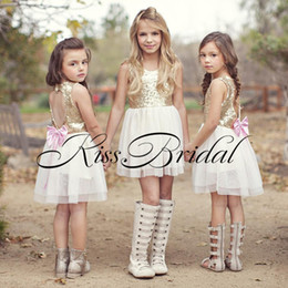 Wholesale Heart Flower Girl Dresses - Sweet Heart Back Flower Girls Dresses Gold Sequins Tulle TuTu Skirt Bow Back Party Dress Short Girls Pageant Gowns