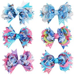 Wholesale Girls Character Hair Clips - 12Pcs lot Baby Hair Bows Girls Hair Accessories Boutique Frozen Hair Bow With Alligator Clip with Alligatir clips