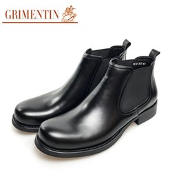 Wholesale Mens High Black Boots Fashion - GRIMENTIN New Brand fashion black mens boots genuine leather comfortable high quality formal business men shoes size:38-44 2sh214