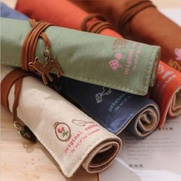 Wholesale Wholesale Bag Manufacturers - Wholesale-1Pcs South Korean manufacturers selling retro pen rolls of canvas bag pen curtain simple stationery bag wholesale free shipping