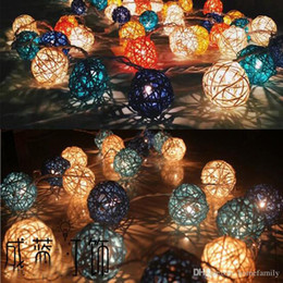 Wholesale Hair Decoration For Ball - 20 Leds Rattan ball Tring Decoration Light For Party Wedding Led Twinkle Lighting Christmas Decoration Bedroom Decoration Lights String