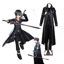 Wholesale Handmade Japanese Swords - Highest Quality Sword Art Online Kirito Anime Cosplay Costume Christmas Full Set Black Handmade Costom Made