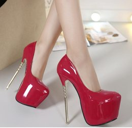 Wholesale Sexy Wedding Shoes Ivory - 16cm sexy shoes high heels pumps red wedding shoes platform solid color size 34 to 40