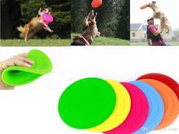 jouet chien frisbee Promotion 20 pcs Coloré Doux Pet Chien Frisbee Disque Volant Dent Résistant En Plein Air Grand Chien Formation Fetch Jouet NAR075