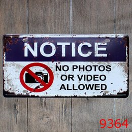 Wholesale video sign - No Photos or Video Allowed vintage embossed metal tin signs garage car plate licence number plate painting plaque picture 15x30cm