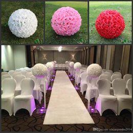 "Wholesale Large Silk Rose Balls - 20"" 50 cm Super Large Size White Fashion Artificial Rose Silk Flower Kissing Balls For Wedding Party Centerpieces Decorations supplies"