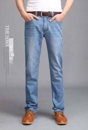 Wholesale Designer Perfume Men - Wholesale-New 2016 Famous Brand Men's Jeans,Fashion Designer Straight Large Size thin Denim Jeans Pants Perfume Men