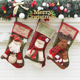 Wholesale Large Candy Decorations - The New Christmas Socks Gift Bags Christmas Decorations Large Luxury Christmas Stockings Gift Candy Socks