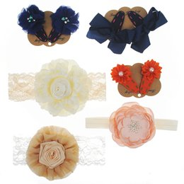 Wholesale Small Pearl Hair Clips - Baby Headband and Hair Clip Set Big Satin Flower with Rhinestone Arc Lace Rosette in Center Small Satin Flower Matching Pearl Bow Clip