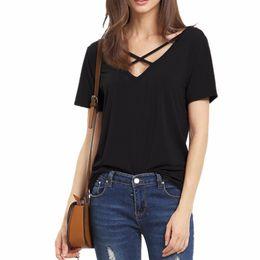 Wholesale Ladies Short Sleeve Shirts - Ribbon T Shirts for women tops V Neck Bandage T-Shirt Casual Women T Shirt Camisetas Short Sleeve Lady crop top tshirt WT57 WR