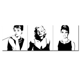 Wholesale Marilyn Monroe Oil Canvas - 3 Pieces Canvas Painting Marilyn Monroe and Audrey Hepburn Painting with Wooden Framed for Modern Home Wall Decoration as Gifts