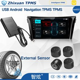 Wholesale Parts Dvd - hot sales auto parts tpms tyre pressure monitoring system with 4internal sensors USB connect android 4.0 car DVD navigation test tire states