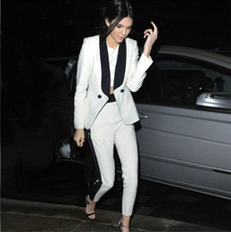 Wholesale Women Silk Pants Suits - 2016 New Arrival Fashion White And Black Double Breasted Two Pieces Pant Suits With Pockets contrast color