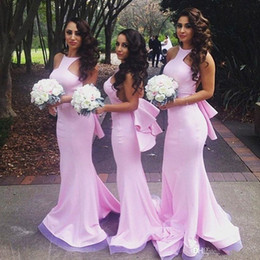 Wholesale Girls Bridesmaid Dresses Cheap - 2016-2017 Sexy Pink Mermaid Beach Backless Bridesmaids Dresses Cheap Sweep Train Maid of the Honor Dress Teenage Girl Wear Bridesmaid Dress