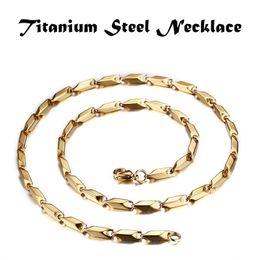 Wholesale gold rope china - Mens Simple Jewelry Collar Joyas Titanium Steel High Polished Men Fashion Chains Necklace Gold 60cm 0.3cm 0.4cm 0.5cm