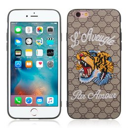 Wholesale 3d Back Case Cellphone - Fashion Big Brand 3D Embroidery Cellphone Case Tiger Bee Snake Pattern Design Back Cover Protect Shell for Iphone X 5 6 6plus 7 8 7 8plus