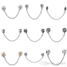 Wholesale Dog Beads Charms - 50pcs Mix Style Silver plated Fashion Safety Chain European Charm Beads Fit Pandora Style Bracelet Necklace Pendant DIY Original Jewelry