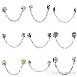 Wholesale Dog Charm Bead - 50pcs Mix Style Silver plated Fashion Safety Chain European Charm Beads Fit Pandora Style Bracelet Necklace Pendant DIY Original Jewelry