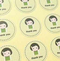 2019 regali marketing Grazie 3 * 3cm le ragazze sorridono con la griglia verde e le etichette regalo con etichetta regalo sul mercato regali marketing economici