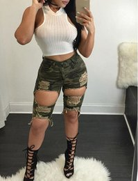 Wholesale Women S Vintage Print Pants - Ripped Jeans for Women 2016 Mid Waist Camouflage Printed Knee Length Jeans Slim Army Green Hole Elastic Boyfriend Skinny Jeans