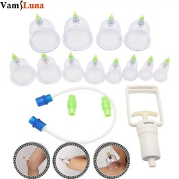 Wholesale Massage Cupping Pump - Cupping Therapy Set 12-Cup Chinese Vacuum Cupping Massage Kit Plastic Pump Therapy Equipment Set with Pumping Handle