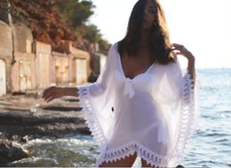 Wholesale Crochet Swimsuit Plus Size - 2016 Sheer Swimwears Bathing Suit Cover Up Sexy Crochet White Pareo Beach Dress Summer Bikini Swimsuit Cover Up Plus Size