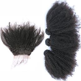 Canada Brésilien Afro Crépus Bouclés 4 * 4 Dentelle Frontale Fermeture Avec Cheveux Bundles 4Pcs Afro Bouclés Vierges Cheveux Avec Dentelle Fermeture Livraison Gratuite 5Pcs / Lot Offre