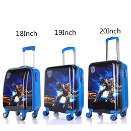 Wholesale Trolley For Kids - Wholesale-18'' 19'' 20'' Transformers Rolling Luggage For Boys Children Cool Travel Trolley Case Kids Cartoon ABS