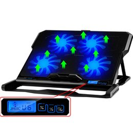 Wholesale 12 Inch Pc Screen - Wholesale-ice statue notebook radiator 12-15.6 inch LCD screen menu panel 6 speed regulation USB 2.0 Four Fans Laptop PC Base Cooling Pad