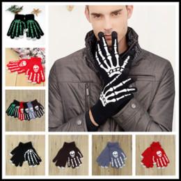 Wholesale Winter Skeleton Gloves - Creative 5 Styles Skeleton Halloween Smart Phone Tablet Touch Screen Gloves Winter Mittens Warm Full Finger Skull Gloves