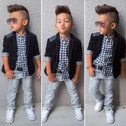 Wholesale Kids Down Coat 4t - 3PCS Baby Boys Dress Suit Coat Plaids Shirt Denim Pants Set Kids Clothes Outfits Free Shipping