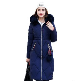 Wholesale Thick Pink Hoodie - Layo New Winter Coat Women Long Solid Zipper Cotton Fur Hoodies Warm Thick Jacket Lady Winter Coat Casual Outerwear Blue Red White