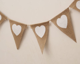 Wholesale Bunting Wholesale - Wedding Decorations Wedding Banner Bunting Flag Burlap Heart Pattern Triangle size 13 Pieces 13CM*17CM