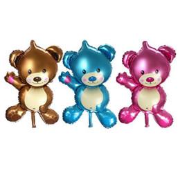 Argentina 50 unids / lote mini oso juguetes para niños decoración lámina globos cumpleaños globos de dibujos animados globo de helio Suministro
