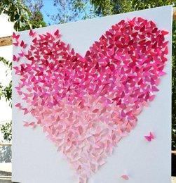 Wholesale Cake Wall Sticker - 20pcs Shinniny Butterfly Wall Stickers 3D Stickers Beauty Home Decorations Wedding Gifts Decorations Kids Room Decorations 2016 May Style