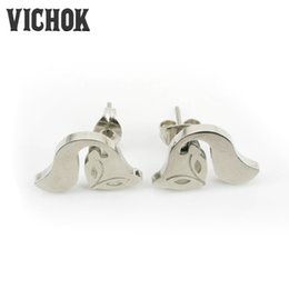 Wholesale Cute Earrings For Sale - 316L stainless steel earrings 2017 cute fox-shaped earrings silver gold rose gold 3 colors hot sales best gift free shipping For lady VICHOK